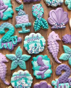 Mermaid cookies for a sweet second birthday! 🧜‍♀️ I love that I was able to update a similar mermaid set I did at this time last year and… 2nd Birthday Parties, Birthday Party Decorations, Girl Birthday, Birthday Ideas, Mermaid Cookies, Mermaid Cupcakes, Idee Baby Shower, Mermaid Birthday Cakes, Party Fiesta