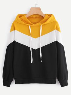 ROMWE Hooded Cut And Sew Multicolor Colorblock Chevron Sweatshirt Spring Autumn Ladies Long Sleeve Women Casual Hoodie - Sweat Shirt - Ideas of Sweat Shirt - Hoodie Sweatshirts, Tee Shirts, Sweat Shirt, New Fashion, Fashion Outfits, Emo Outfits, Punk Fashion, Lolita Fashion, Fashion Wear
