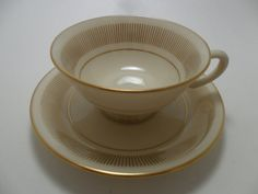 Vintage LENOX Cup and Saucer FLOURISH Pattern H 521 by KathiJanes, $11.95