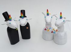 unicorn gay and lesbian wedding cake toppers by Bunny with a Toolbelt