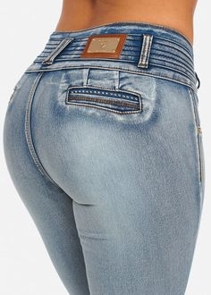 Light Blue Butt Lifting Jean with Gold Color Contrast Stitching