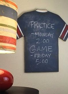 - made me think of you for your boys.Boys sports room decorDIY- Do it yourself Vintage Sports Jersey Chalkboard by Aaron Christensen. The project has a recipe for home-made chalkboard paint.