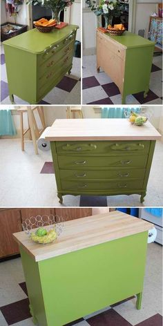 DIY island made out of a dresser! Super cheap and looks great!!! #kitchen #decor #diy