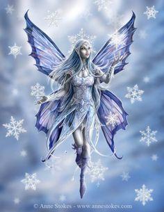 Fantasy Art - Snow Fairy by Anne Stokes Anne Stokes, Snow Fairy, Winter Fairy, Winter Magic, Fantasy World, Fantasy Art, Fantasy Fairies, Unicorn Fantasy, Real Fairies