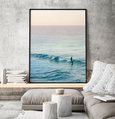 Digital download, large printable poster. Beautiful Surf Photography for your living room wall. #printable #download #ad