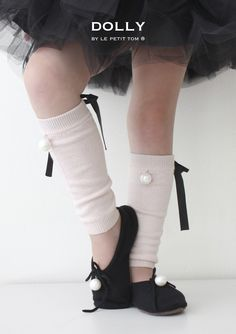 DOLLY by Le Petit Tom ® PEARLED BALLERINA SLIPPERS black