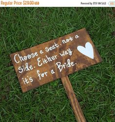 SALE Choose a Seat Not A Side Either Way It's For A Bride Same Sex Wedding Ceremony Sign Lgbt Pride Lesbian Custom Wedding Seating Chart by ThePeculiarPelican #etsyseller #etsyshop #woodensigns #customsigns #shopsmall #shopping #gifts #giftideas #porchsigns #weddingsigns #southernsigns #quotes #handmade #handpainted #signs http://ift.tt/2dq1MGX