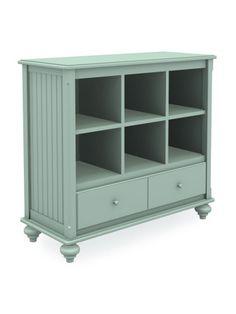 Cottage Short Wide Cubbie Bookcase With Drawer Turned Bun Foot Six Cubbies Seafoam