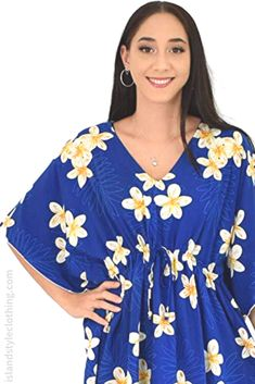 Sweet Floral Plumeria Kaftan in Blue Plumeria - soft beach cover up. Throw this delightful caftan over your bikinis or jeans for a day at the beach, cruising or casual wear. Lots of colours and patterns to choose from. #poncho #kaftan #bikini #beachcoverup #caftan #plumeriaparty #luau #luauparty #coverup #beachwear #cruise #cruisewear #frangipani