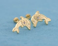 Gold Dolphin Stud Earrings, Gold Dolphin Stud Earrings, Gold Dolphin Stud Earrings whit Screw Back, Baby Stud, Dolphin with CZ Heart Earrings, Gold Earrings, Metal Stamping, Etsy Earrings, Types Of Metal, Dolphins, Diamond Cuts, Great Gifts, Delicate