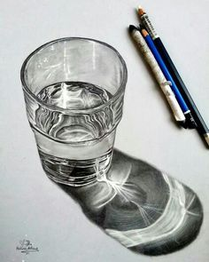 Realistic Drawings drawing a glass of water - A list of still life ideas for teachers and Art students. The collection includes old favourites, as well as more unusual still life drawing topics. 3d Drawings, Realistic Drawings, Drawing Sketches, Drawing Portraits, Drawing Ideas, Amazing Pencil Drawings, Horse Drawings, Sketch Ideas, Pencil Drawing Images