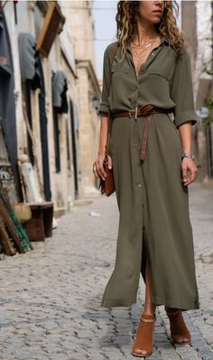 Summer Loose Long Shirt Dress Women Solid Pockets Turn Down Collar Long Sleeve Casual Maxi Dress Ankle Length Color Black Size S Casual Work Dresses, Elegant Dresses For Women, Dresses For Work, Beautiful Dresses, Formal Outfits, Casual Outfits, Floryday Vestidos, Vestidos Fashion, Fashion Dresses