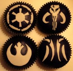 insignia cupcakes - one possible idea (fairly simple)...could possibly also be ridiculous and get a cookie cake and do that on the cookie cake