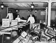 Original Caption:  Rangers Wreck Texas Night Club.   Houston -- The above photo shows the interior of The Playhouse, an ornate night club of Houston, Texas, after Texas Rangers wielded axes during the state-wide drive on gambling. In this club, equipment valued at $15,000 was destroyed, three alleged operators were arrested, and eighty men and women were to be called as witnesses. (1935)