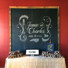 Custom design with lacey-flourishes and Durham icons for a wedding reception at The Rickhouse