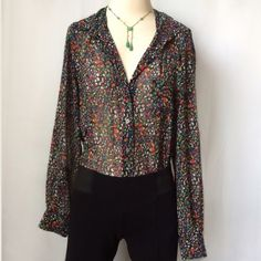 """. Two by Vince Camuto Tunic Shirt XUC:  Multicolor Floral Print Tunic Shirt; Vibrant colors; 30"""" front length; 33-1/2"""" back length; relaxed bust approx 38"""" Vince Camuto Tops Blouses"""