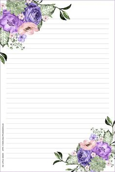 xc vv Printable Lined Paper, Free Printable Stationery, Stationery Paper, Floral Border, Flower Backgrounds, Writing Paper, Note Paper, Mail Art, Paper Background