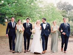 Blue and Silver Wedding Party   photography by http://brushfirephotography.com/ Men in blue and ladies in silver / grey - love it!