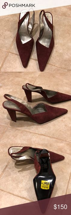 """New Robert Clergerie Slingback Heels Sz 7.5 Never worn! Robert Clergerie pointy toe slingback heels. A burgundy/wine red suede. Size 7 1/2. Made in France. 3"""" heel Robert Clergerie Shoes Heels"""