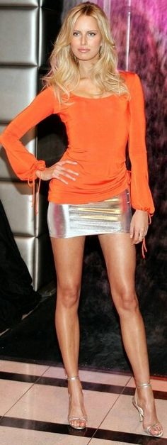 Trends in fashion: Oufits Trends for Summer 2013  - love the bold orange with that silver skirt... My skirt is not that short... Wonder if would look as good?