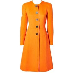 Pre-owned Valentino Double Face Wool Fitted Coat ($1,095) ❤ liked on Polyvore featuring outerwear, coats, coats and outerwear, collarless wool coat, fitted coat, woolen coat, vintage coat et orange wool coat
