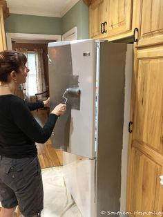 Painting a White Refrigerator with Liquid Stainless Steel - Southern Hospitality,Painting a White Refrigerator with Liquid Stainless Steel - Southern Hospitality Small home appliances that make your everyday life easier Little kitc.