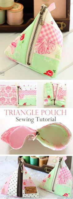 Make an easy patchwork triangle pouch with our sewing tutorial. http://www.free-tutorial.net/2017/10/triangle-pouch-tutorial.html