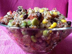 Pink-Vegan: Quinoa Corn Bean Edamame Tomato Salad (DF)