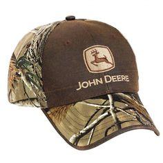 bc213aa246e John Deere Leather-Like Canvas   Realtree AP HD Cap