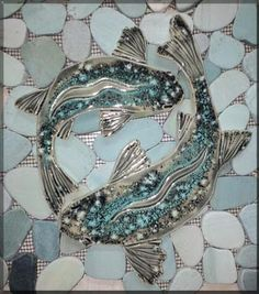 Sea Bass shaped fish tiles are an excellent choice when using blue, green, or gray sliced pebbles in your mosaic tile shower floors. Tile Art, Mosaic Art, Mosaic Glass, Mosaic Tiles, Mosaic Bathroom, Tiling, Stained Glass, Mosaic Planters, Pebble Mosaic