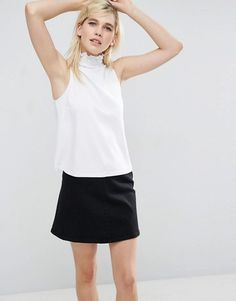 ASOS Shell Top in Ponte with Pretty Shirred Neck