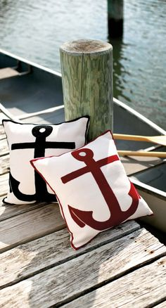 Fresh American Admiral indoor/outdoor pillows (black & Red) love these for our patio Nautical Pillows, Nautical Home, Nautical Office, Nautical Design, Nautical Style, Coastal Style, Coastal Decor, Anchor Pillow, Dash And Albert