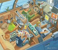 Retro-Futuristic art. Concept Bruce McCall. futuristic car, futuristic car interior