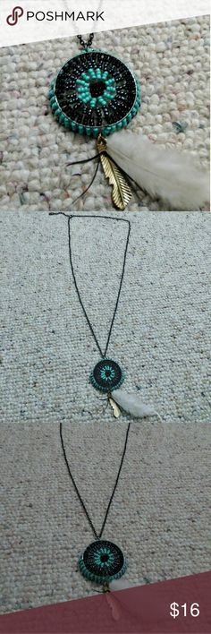 NWOT Anthropologie Beaded Feather Necklace NWOT Anthropologie Beaded Feather Necklace Anthropologie Jewelry Necklaces