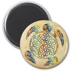 Fleur de DES Lebens - tortue de la vie/Blume Magnets Pour Réfrigérateur