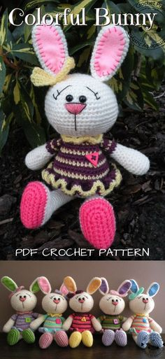 Cute amigurumi bunny crochet rabbit pattern for Easter or spring baby gift. Lovely handmade gift to make. #etsy #ad #crochet #pattern