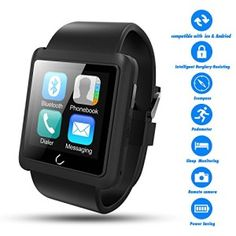 Smart Watch,Best Valentines Gift,Couples Watches,TWOBIU(TM)Bluetooth Smart Watch U10L with Pedometer+Anti-lost+Remote Camera+Sleep Monitoring+Stereo Music for IOS, Andriod Devices-Black
