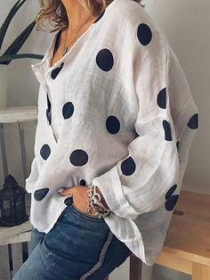 2019 Women Cotton Linen V Neck Blouse Ladies Summer Loose Baggy Tops Female Casual Button Shirts Woman Plus Size Clothes Blouse Col V, V Neck Blouse, Dots Fashion, Fashion Women, Women's Fashion, Mode Blog, Polka Dot Blouse, Polka Dots, Blouse Styles