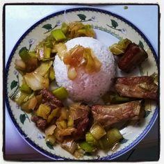 travers de porc caramélisé riz et poireaux