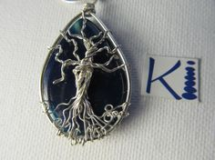 Tree of Life Pendant Sterling Silver Wire by KiCrystalCreations Tree Of Life Pendant, Agate Gemstone, Sterling Silver Jewelry, Wire, Gemstones, Crystals, Accessories, Gems, Crystals Minerals