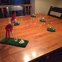 Ce lutin sportif s'ennuie des sports d'été et il a décidé de parfaire ses approches de golf directement sur votre table de cuisine.