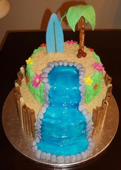 Hawaiian Waterfall Cakes | hawaiian luau cake with the inspiration of other cc rs cakes on the ...
