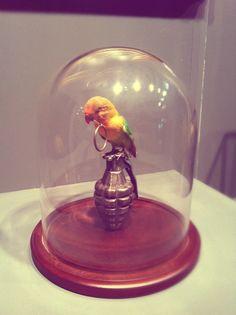 London Art Fair 2013 Bird bell jar2
