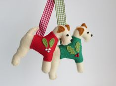 Hand sewn Wire Fox Terrier felt dog christmas by MisHelenEous, £8.00