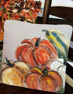 Fall/Autumn, Pumpkins Pillows, Decorations, Accent Pillows, Throw Pillows, Holidays, Hand-painted, Handmade, Pillow Cover, No. 123