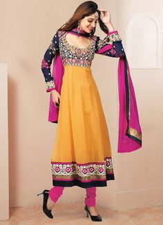 Fab Black And Mustard Embroidery Work Georgette Anarkali Suit Product Code :5804 shop now   http://www.sareesaga.com/fab-black-and-mustard-embroidery-work-georgette-anarkali-suit-5804