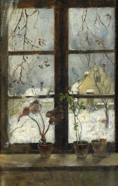Henry Alexander (American, 1860-1894), Snow Scene through a Winter Window, 1870. Fine Arts Museums of San Francisco (+++).