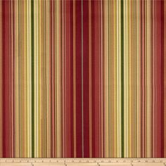 Waverly SNS Serene Stripe Cinnabar  the rugged demands of casual indoor and outdoor living. sun exposure. Create decorative toss pillows, chair pads, tabletop andmaintain the life of the fabric bring ed by wiping down or hand washing with warm water and a mild soap solution, siclear water to prevent dirt from embedding itself into the fabric. Colors include antique gold, olive, ecru and red.