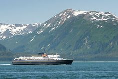 Picture of a ferry traversing the Inside Passage of Alaska.