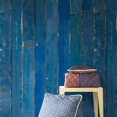 Blue Scrapwood Wallpaper By Piet Hein Eek